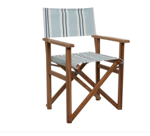Quincy Director Chair, Blue/White Stripe