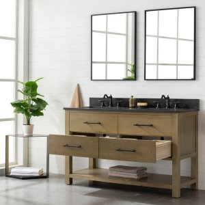 """This 54"""" double bathroom vanity set has clean lines and a weathered finish that complements your coastal farmhouse decor. It's made from a mix of solid and engineered wood, and features natural wood grain and tapered legs for a classic look. Two soft-close drawers and a spacious 54"""" wide open shelf on the bottom offer plenty of space for your toiletries, washcloths, and spare towels. The countertop is made from blue limestone and has two undermount rectangular ceramic sinks. Plus, an included backsplash makes sure your walls stay protected. We also love that this double vanity arrives fully assembled. What's Included?  Sink Backsplash Cabinet Handles Drain Assembly Faucet Mirror P-Trap Mounting Bracket Features  Antique black hardware Product Details  Top Material: Stone Mounting Location: Free-standing Base Material: Solid + Manufactured Wood Adult Assembly Required: No Sink Included  Sink Shape: Rectangular"""