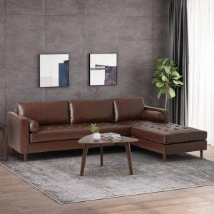 """110"""" Wide Faux leather Right Hand Facing Sofa & Chaise"""