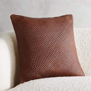 """18"""" ROUTE LEATHER CHOCOLATE PILLOW"""