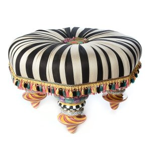 """33"""" Wide Tufted Round Striped Cocktail Ottoman"""