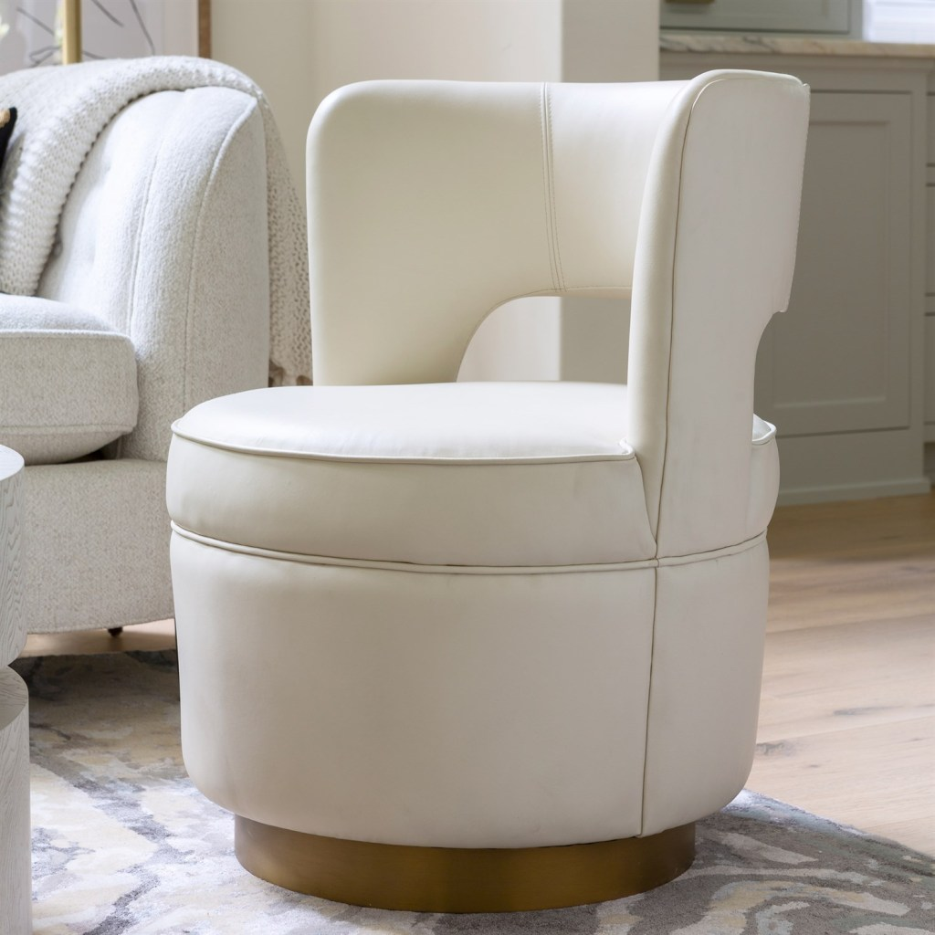 SWIVEL CHAIR-MILK LEATHER for the holiday season
