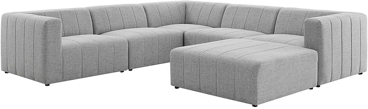 Modway Bartlett Channel Tufted Upholstered 6-Piece Sectional Sofa in Light Gray