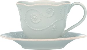 Lenox French Perle Cup and Saucer Set, Ice Blue