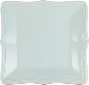Lenox Ice Blue French Perle Bead Square Dinner Plate, 2.40 LB