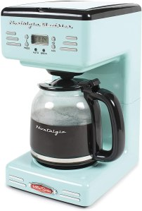 Nostalgia RCOF12AQ New & Improved Retro 12-Cup Programmable Coffee Maker With LED Display, Automatic Shut-Off & Keep Warm, Pause-And-Serve Function,Blue