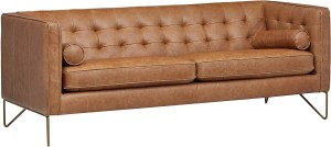 """Amazon Brand – Rivet Brooke Contemporary Mid-Century Modern Tufted Leather Sofa Couch, 82""""W, Cognac"""