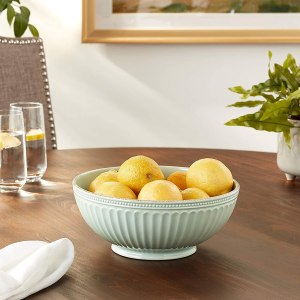 Lenox French Perle Groove Serve Bowl, Ice Blue -