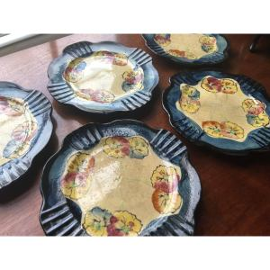 Antique Hand-Painted Scalloped Pansy Plates - Set of 5