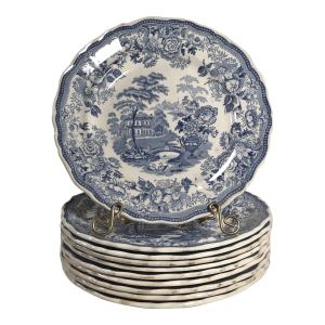 Antique Transferware Staffordshire Blue and White Plates - Set of 10