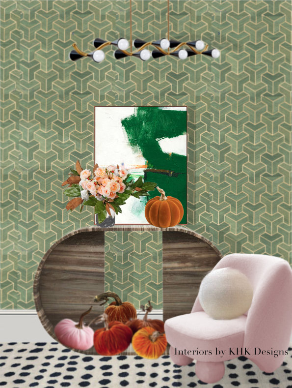 An Chic Entry Featuring Curving Furniture And Geometric Wallpaper