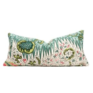 Quadrille Les Indiennes Multicolor pillow cover in Salmon Green Turquoise 302650F // Designer pillow // High end pillow // Decorative pillow