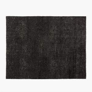 EEN HAND-KNOTTED VISCOSE BLACK RUG