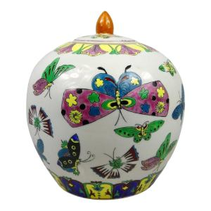 Late 20th Century Chinese Decorative Covered Porcelain Jar With Butterfly Designs
