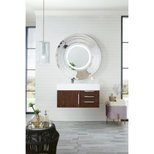 """Mercer Island 36"""" Single Vanity, Ash Gray W/ Glossy White Solid Surface Top"""
