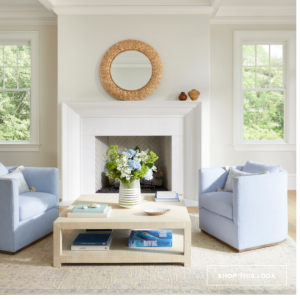 Living Room With A Pair Of Light Blue Upholstered Chairs