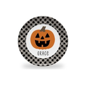 Personalized Halloween Plate for Kids | Pumpkin Table Decorations for Children | Cute Plate for Kids with Name | BPA Free