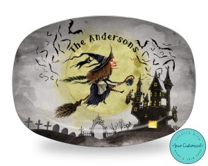 Personalized Halloween Witch Platter - Halloween Decor, Party Plates, Dinnerware, Halloween Party Decorations, ThermoSaf® Platter